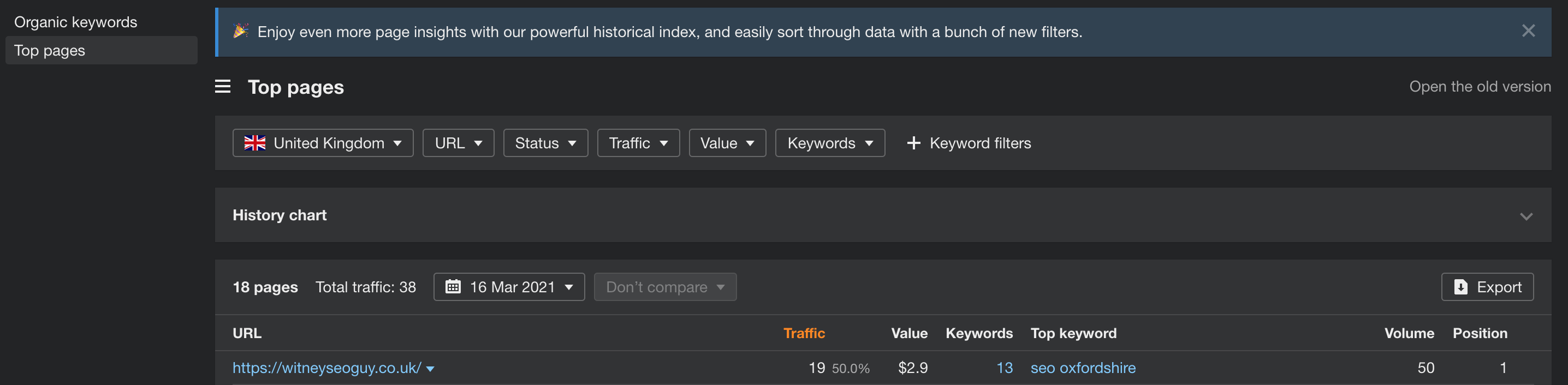 top pages report in ahrefs webmaster tools