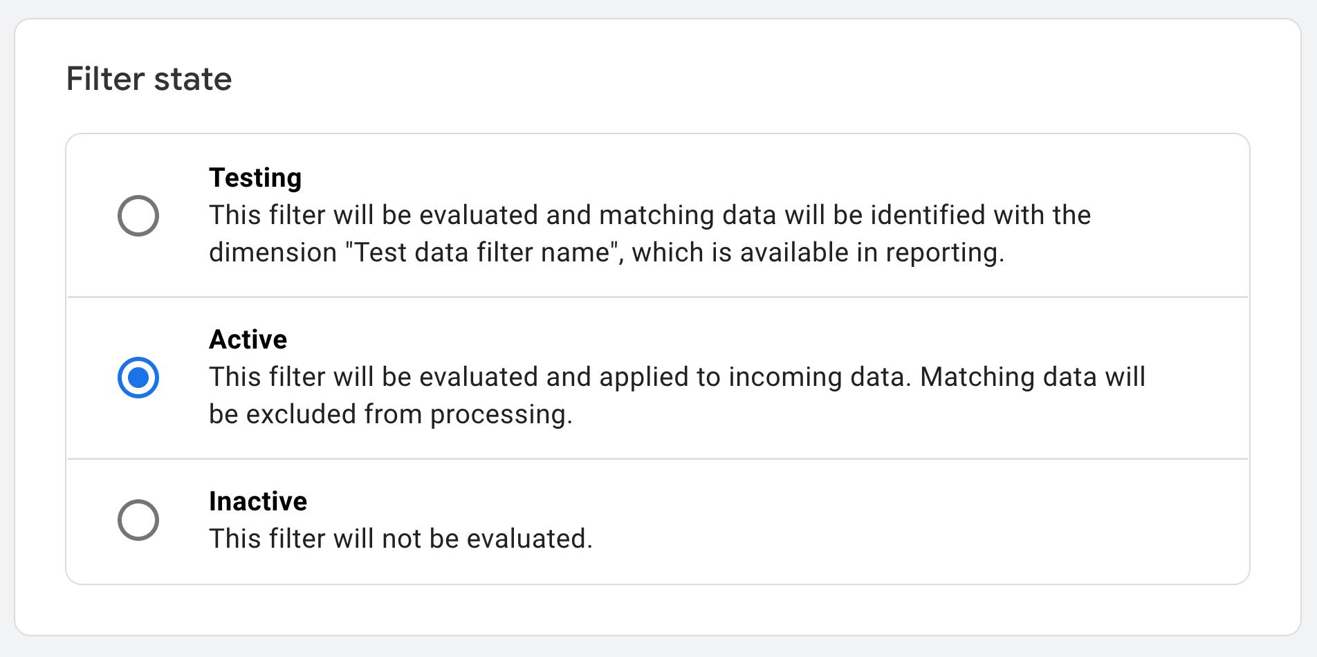 change filter state in google analytics 4