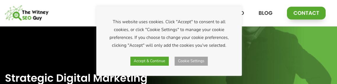 cookie banner pop up