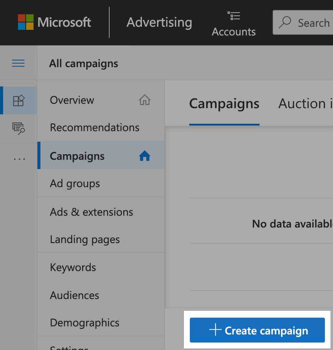 create a new campaign in microsoft advertising