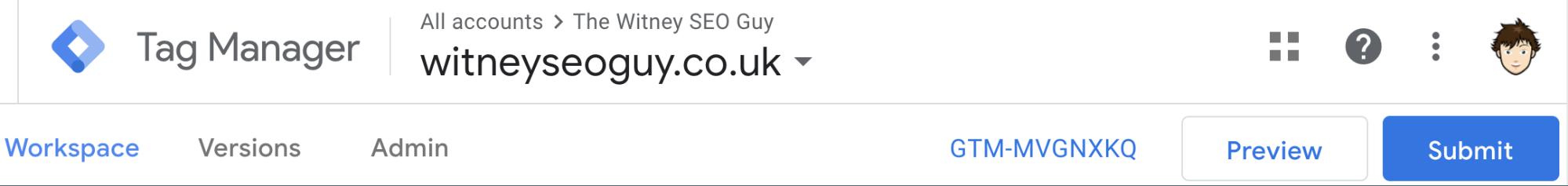 google tag manager dashboard header
