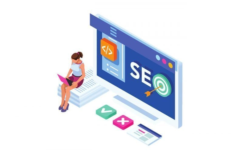 woman on laptop with seo on browser