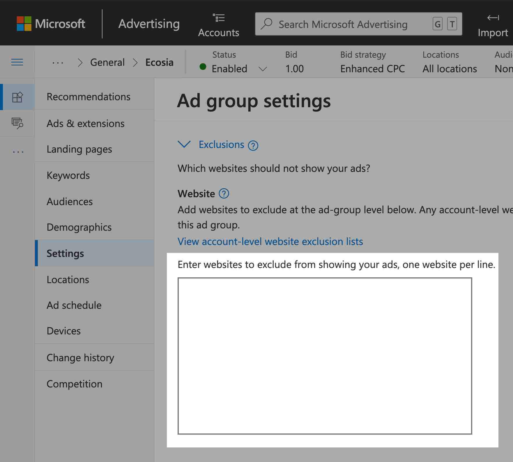 set up ad group level website exclusions in microsoft advertising