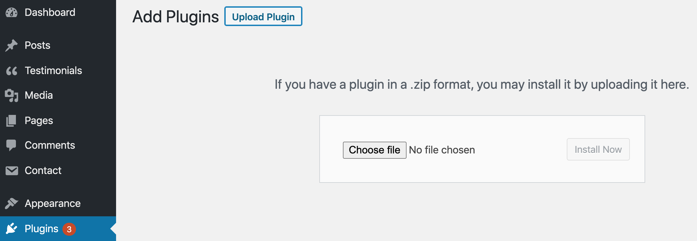 wordpress admin area add plugins section