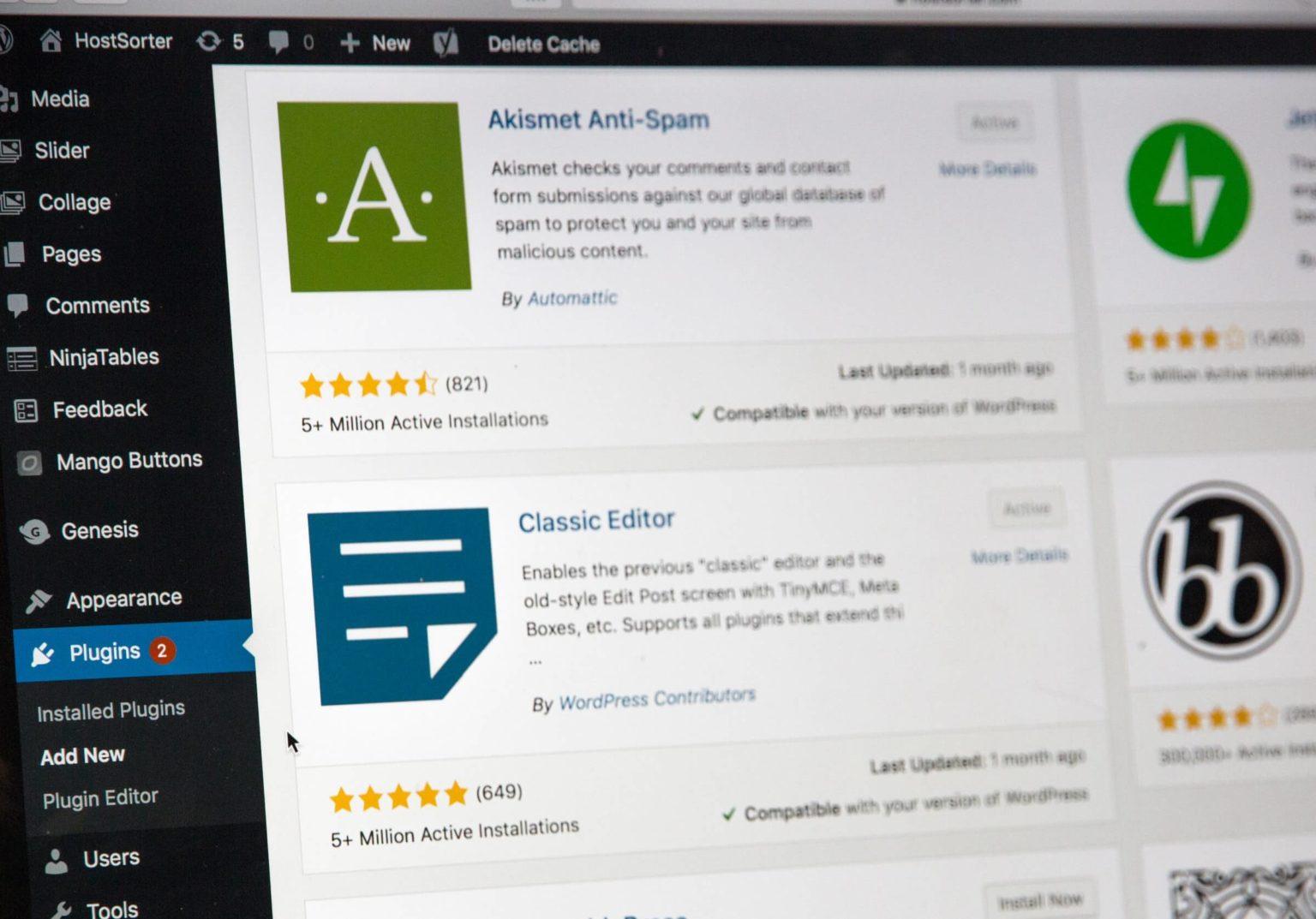wordpress plugins admin area askimet classic editor